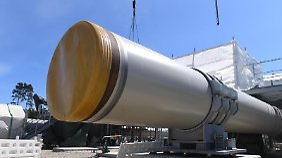 """Blick auf die Baustelle der Empfangsstation der Ostseepipeline """"Nord Stream 2"""" bei Lubmin."""