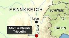 Aus der Atomanlage Tricastin treten am 7. Juli 2008 ...