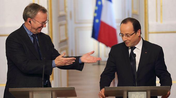 Google-Chef Eric Schmidt mit Ministerpräsident Francoise Hollande.