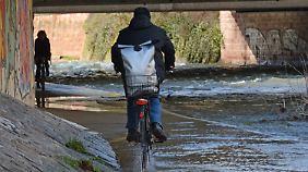 In Freiburg haben starke Regenfälle die Dreisam anschwellen lassen.