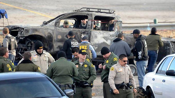 Das ausgebrannte Auto des mutmaßlichen Täters.