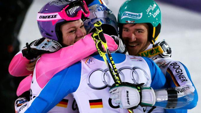 Team-Dritte: Lena Dürr, Maria Höfl-Riesch, Felix Neureuther und Fritz Dopfer.