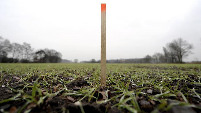 Ein Holzpflock steht in Borken zur Geländevermessung auf einem Feld. Damit werden Probebohrungen nach Erdgasvorkommen vorgenommen.