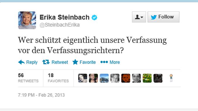 """""""Ironischer Unterton"""": Steinbachs Tweet vom Dienstagabend."""