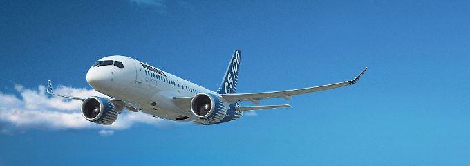 Sieht aus wie eine Mischung aus Dreamliner, Airbus und Superjet: In der Computergrafik fliegt der CS100 bereits.