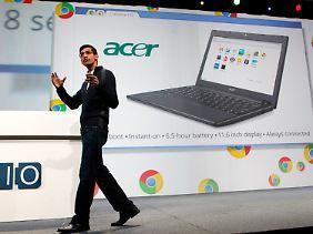 Sundar Pichai, Chrome-Chefentwickler bei Google und mittlerweile neuer Android-Chef, bei einer ersten Präsentation des Konzepts im Mai 2011.