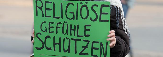 Bei einem Protest in Frankfurt am Main.