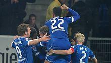 Hoffenheims Mannschaft jubelt über das Tor zum 2:0.