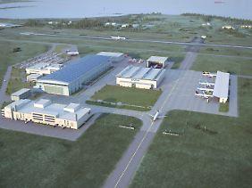 Und so soll das neue Airbus-Werk einmal aussehen: Zwei Montagehallen, zwei Verwaltungsgebäude, Hangars, Parkplätze und eine Rollbahn zum Werksflughafen.
