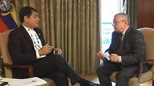 Rafael Vicente Correa Delgado im Gespräch mit Manfred Bleskin.