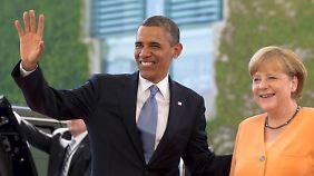Ankunft im Kanzleramt: Obama und Merkel.