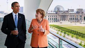 Großer Besuch im Kanzleramt: Merkel empfängt Obama