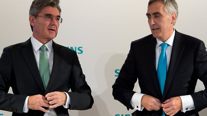 Siemens-Chef Löscher (r.) neben seinem möglichen Nachfolger Joe Kaeser.