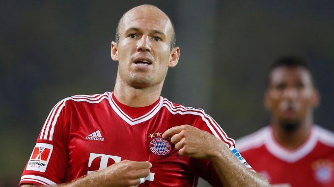 Da jubelt er, nur etwas zu lange: Arjen Robben.