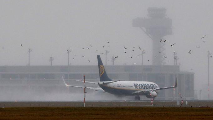 Eine Ryanair-Maschine landet in Berlin-Schönefeld.