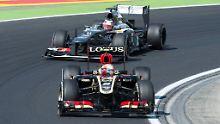 Derzeit nicht in der besten Position: Nico Hülkenberg hinter Romain Grosjean beim Übungsrennen für den Großen Preis von Ungarn.
