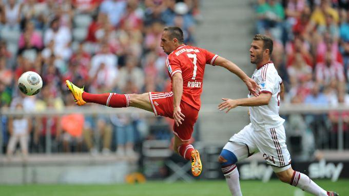 Franck Ribery brach den Bann gegen defensiv gute Nürnberger - per Kopf.