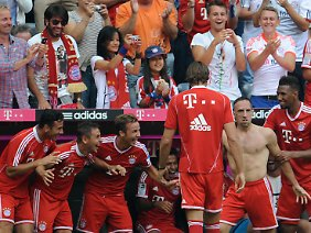 Nach seinem Tor zog Ribery blank - oben rum.
