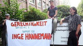 Hannemann-Unterstützer vor dem Arbeitsgericht in Hamburg.