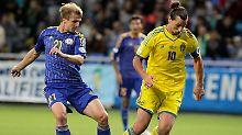 Auch die Schweden um Superstar Zlatan Ibrahimovic taten sich auf dem Kunstrasen von Astana ungewohnt schwer.