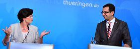 Ministerpräsidentin Christine Lieberknecht und ihr früherer Regierungssprecher Peter Zimmermann.