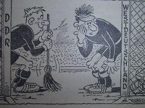 """Ein Hauch von Humor: So sah der Karikaturist der ostdeutschen """"Fußball-Woche"""" die Partie."""