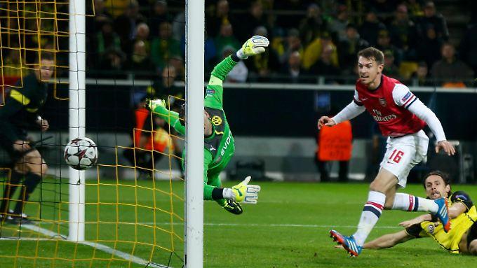 Aaron Ramsey brachte Arsenal mit dem ersten Torschuss der Gunners in Dortmund in Führung. Das zog dem BVB den Zahn.
