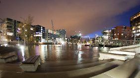 Die Magellan-Terrassen in der Hafencity in Hamburg waren bei der dritten Sturmflut noch überschwemmt.