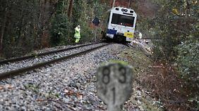 Entgleister Zug in Lugo, Galivien.