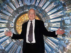 Peter Higgs bei einer Ausstellungseröffnung in London.