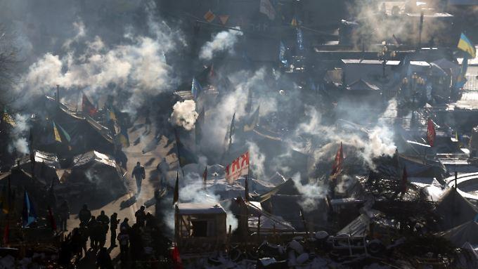 Seit zwei Monaten harren die Demonstranten in klirrender Kälte auf dem Maidan aus.