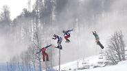 Das erste Gold des elften Olympia-Tages holt sich der Franzose Pierre Vaultier (ganz links) im Snowboardcross.