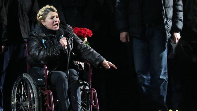 Wegen der starken Schmerzen ist Julia Timoschenko auf den Rollstuhl angewiesen.