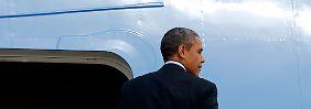 Obama flog von Rom nach Saudi-Arabien weiter.