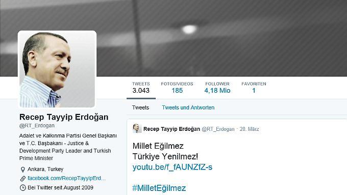 Auch Erdogan selbst ist auf Twitter aktiv - sein letzter Tweet ist vom 20. März.