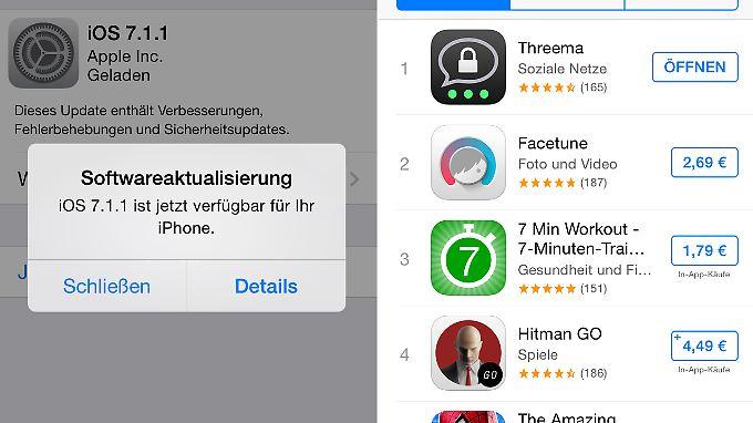 Wie man unter iOS 7.1.1 sofort sieht, gibt's auch in Kauf-Apps noch In-App-Käufe.