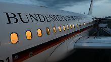 Der defekte Jet der Flugbereitschaft der Bundeswehr auf dem Flughafen von Chisinau (Republik Moldau).