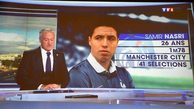 Didier Deschamps gab sein Aufgebot im französischen Fernsehen bekannt. Samir Nasri bekam zwar ein Foto, wurde aber trotzdem nicht berufen.