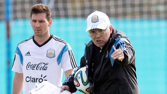 Der Star und sein Trainer: Lionel Messi mit Alejandro Sabella.