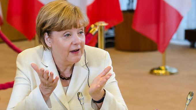 Merkel in bester Laune beim G7-Treffen in Brüssel.