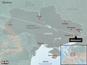 Östlich von Donezk: Der Absturzort liegt rund 40 Kilometer vor der russischen Grenze.