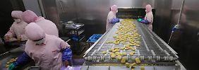 Panierte Hühnerteilchen am laufenden Band: In diesem Husi-Werk in Shanghai soll es zu gesundheitsgefährdenden Missständen gekommen sein.