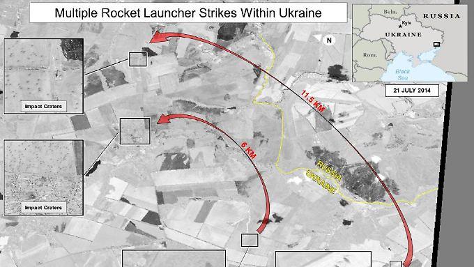 Dieses Foto vom 21. Juli soll die Folgen eines Beschusses mit Raketenwerfern  zeigen, die aus Russland an die Separatisten geliefert worden sein sollen.