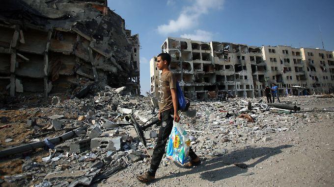 Zerstörte Gebäude in Beit Lahiya im Gazastreifen.
