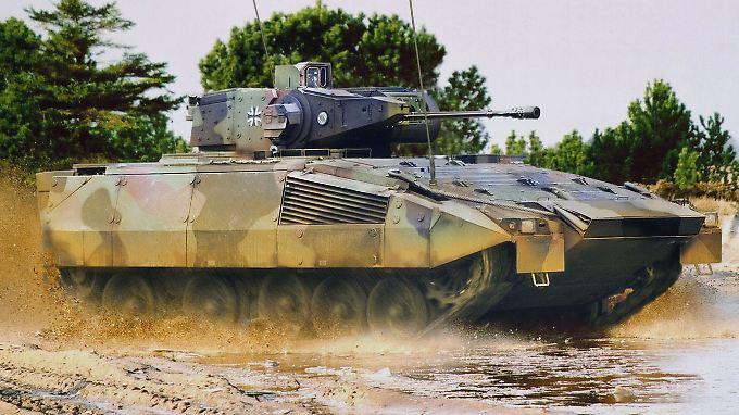 Ein von Rheinmetall zusammen mit KMW produzierter Schützenpanzer des Typs Puma.