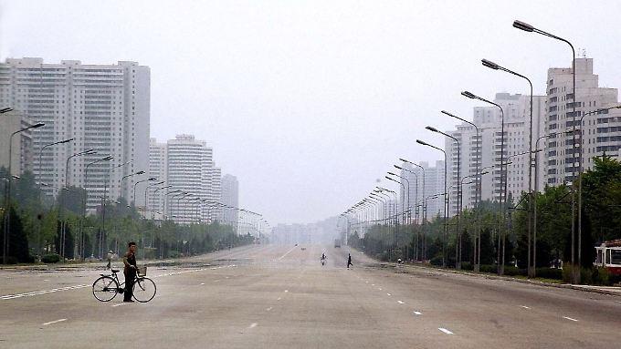 Breite Straßen, keine Autos: Pjöngjangs Stadtplaner denken groß.