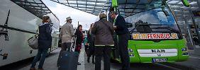 Die Lokführer der Deutschen Bahn treten noch bis Donnerstag 4.00 Uhr bundesweit in den Streik. Bei Fernbusfahrten ist daher mit mehr Fahrgästen zu rechnen.