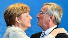 Friede, Freude, Eierkuchen? Merkel und Juncker auf einer CDU-Wahlkampfveranstaltung im Saarland im Mai 2014.