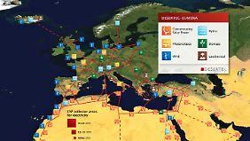 Die Vision Desertec sieht ein interkontinentales Netz von Stromleitung vor, welches Sonnenstrom aus den Wüsten Nordafrikas und des Nahen Ostens nach Europa transportieren soll.