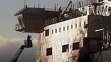 Die Fähre liegt nun im Hafen von Brindisi.